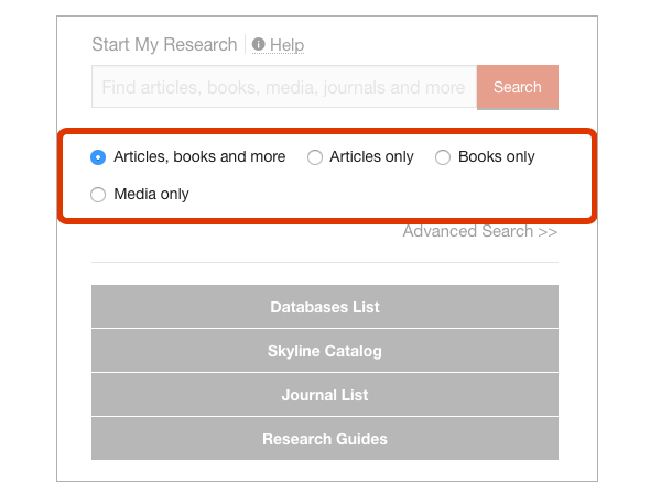 Start My Research search filters