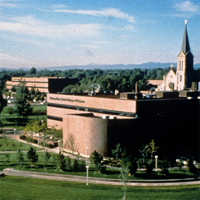 view of Metropolitan State College of Denver science building from across Cherry Creek