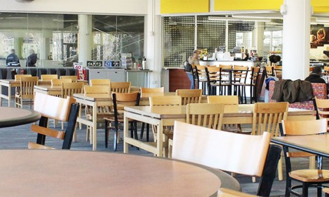 Ample seating area in The Library Cafe to study or take a break